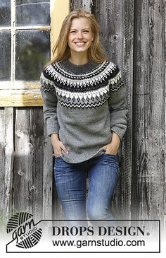 Night Shades / DROPS - Free knitting patterns by DROPS Design - Night Shades / DROPS – Knitted pullover with round yoke in DROPS Karisma. The piece is worked from the bottom up with a Nordic pattern. Sizes S – XXXL. Drops Design, Nordic Pullover, Nordic Sweater, Fair Isle Knitting Patterns, Jumper Patterns, Crochet Patterns, Stitch Patterns, Ropa Free People, Jumpers For Women