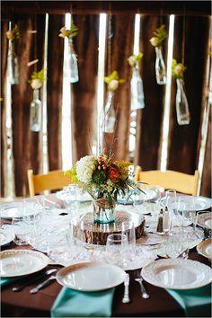 Rustic Fall Farm Wedding Reception Table Decorations