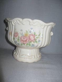 Vintage Ceramic China Victorian Music Box Vase Candy Dish Plays Love Story 1980
