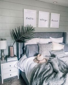 """Gray, white, cozy bedroom decoration: """"Let's stay home - Home sweet home - Bedroom Decor Diy Home Decor Rustic, Modern Decor, Rustic Modern, Decor Diy, Modern Luxury, Country Decor, Country Living, Modern Art, Lets Stay Home"""
