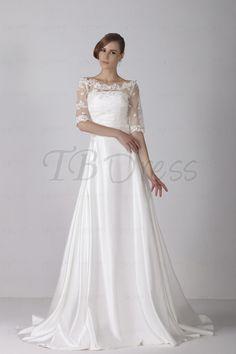 Fashion A-line Bateau Wedding Dress with Lace Jacket Chapel Train Alicja's Wedding Dress