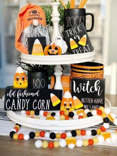 These cute 3d Halloween/ candy corn signs are a perfect addition to your farmhouse and Rae Dunn fall/ Halloween Decor They look great on Tiered trays, shelves, hutches and by themselves. These signs are 3D. Meaning the Wood cut outs are raised. Made in my home and hand painted by me. Bundle includes signs pictured APPROXIMATE Sizes Candy corn 3.5x9 Witches 5.5x5.5 Trick or treat 3.5x4.5 3 small block 2.5x3.5