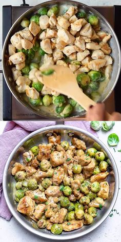 Enjoy your favorite comfort food without any guilt by making this easy and simple Chicken Alfredo brussels sprouts recipe. Skip the pasta for some added veggies for a low carb option. # Food and Drink health CHICKEN ALFREDO BRUSSELS SPROUTS Pollo Alfredo, Chicken Alfredo, Healthy Chicken Recipes, Cooking Recipes, Amish Recipes, Dutch Recipes, Oven Recipes, Vegetarian Cooking, Easy Cooking