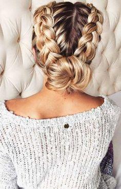 braids. pretty hair. bun. knit top.