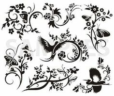 chinese, floral designs, vinyl-ready, ornaments, ornamental art, decorative vector images, vector cliparts, cuttable graphics