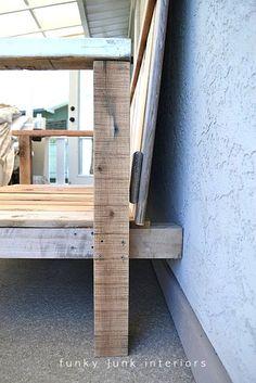 How I built the pallet wood sofa (part via Funky Junk Interiors Palette Furniture, Wood Pallet Furniture, Pallet Sofa, Wood Sofa, Diy Outdoor Furniture, Wood Pallets, Book Furniture, Pallet Benches, Pallet Tables