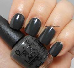 Opi dark grey nail polish hands up! in 2019 Glitter Gel Nails, Pink Nails, Acrylic Nails, Acrylics, Striped Nail Designs, Striped Nails, Grey Nail Polish, Nail Polish Colors, Dark Grey Nails