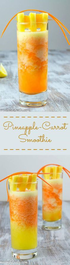 Healthy smoothie recipes and easy ideas perfect for breakfast, energy. Low calorie and high protein recipes for weightloss and to lose weight. Simple homemade recipe ideas that kids love.  |  Pineapple Carrot Orange Smoothie  |  http://diyjoy.com/healthy-smoothie-recipes