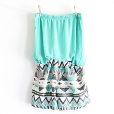 This gorgeous romper features a mint toned soft chiffon like top, gathered waist for the perfect fit, and an aztec print sequin shorts. fully lined. Cute Summer Outfits, Short Outfits, Spring Outfits, Cool Outfits, Short Dresses, Summer Clothes, Tribal Fashion, Teen Fashion, Fashion Outfits