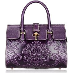 Pijushi Classic Ladies Embossed Floral Leather Tote Satchel Top Handle... ($175) ❤ liked on Polyvore featuring bags, handbags, tote bags, handbags totes, leather purses, leather tote handbags, handbag satchel and purple tote