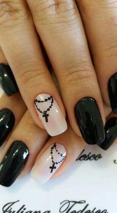 Almond Nails Designs, Nail Polish Designs, Nail Art Designs, French Manicure Nails, French Nails, Get Nails, Love Nails, Rosary Nails, Cross Nail Designs