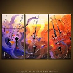 Canvas painting by Lena Karpinsky ⋆ Remembering Mstislav Rostropovich ⋆ buy now or order a commission. Original home decor art for your home interior. Cello Kunst, Cello Art, Triptych Wall Art, Music Painting, Elements Of Art, Large Painting, Large Wall Art, Original Paintings, Abstract Art