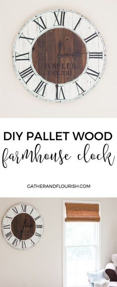 """DIY Pallet Wood Farmhouse Clock 14"""" Black Spade Clock Kit Available Here https://www.etsy.com/listing/247770674/14-black-37-colors3pc-extra-large-wall"""