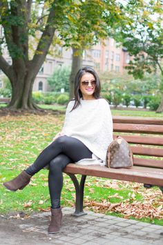 @lovenehagandhi from Love Playing Dress Up spends the perfect fall day in her J.Jill cable-knit poncho and Gee'Wawa for J.Jill stacked-heel short boots.