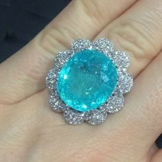 Paraiba Tourmaline and Diamond Ring Tourmaline Jewelry, Tourmaline Gemstone, Unusual Jewelry, Fine Jewelry, Jewelry Accessories, Jewelry Design, Blue Rings, Luxury Jewelry, Beautiful Rings