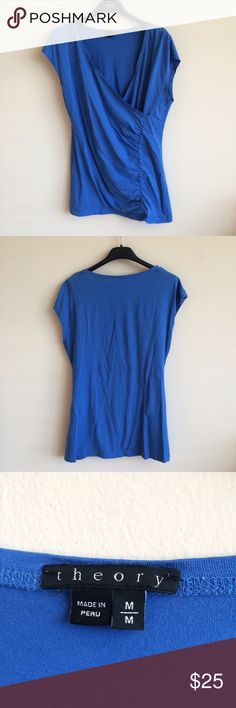 Theory top This is a beautiful Theory dressy top.  Top is blue in color, with scrunching down the front.  Top is a size medium and is in EUC. Theory Tops Blouses