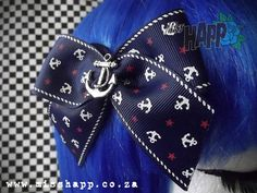Navy Anchor Hair bow clip by MissHapp on Etsy, $8.50
