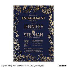 Elegant Navy Blue and Gold Floral Engagement