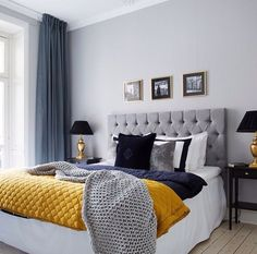 beautiful, bed, bedroom, black, blue, cozy, curtains, dark, dark blue, gold, grey, headboard, interior, lamp, lamps, love it, painting, pillow, room, wall, yellow