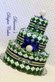 Golf Theme Baby Diaper Cake @USHoleInOne