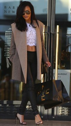 Naya Rivera Wraps Up Her Michael Kors Lace Crop Top with a Luxe Camel Coat - theFashionSpot