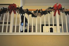 Christmas stairs with Merry Christmas burlap ribbon on garland from Marshalls