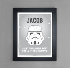 Star Wars - Stormtrooper - Personalized Art Print for Nursery or Children's Room Decor. $15.00, via Etsy. This is perfect for my husband's son.