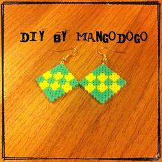 Square earrings perler beads by mango_dogo_shop