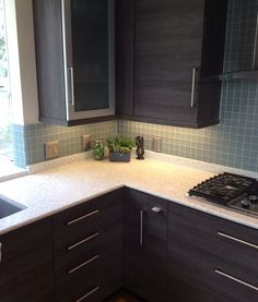 Wenge Wood Cabinetry with Curava Recycled Glass Counters.