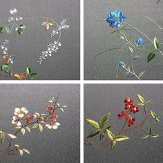 japanese embroidery , flowers