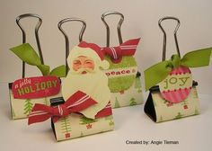 Love this idea!  Fun to try.    schwooo! by stampinangie: Peppermint Twist Altered Binder Clips