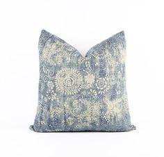 Indigo Chinese Linen Batik Textile Pillow Cover Various Sizes