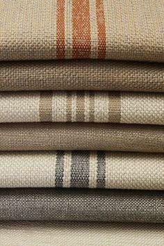 Richard Frinier Textiles for Sunbrella Farmhouse Fabric, Farmhouse Decor, Farmhouse Upholstery Fabric, Sunbrella Fabric, Linen Fabric, Ticking Fabric, Textiles, Shabby, Grain Sack