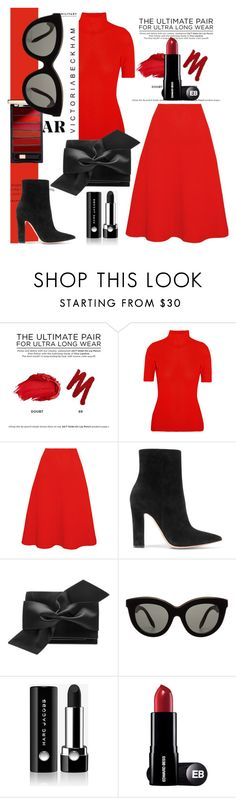 """Red is always red....."" by tiraboschi-b ❤ liked on Polyvore featuring Urban Decay, Victoria Beckham, Gianvito Rossi and Marc Jacobs"