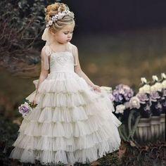 Marfil Vestido Niña con Volantes de Tul Princesa largo Ropa Formal Vestidos Para Niño