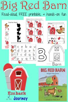 "Hands-on activities and a FREE printable pack for preschoolers and kindergarteners made to go along with Margaret Wise Brown's ""Big Red Barn."" 
