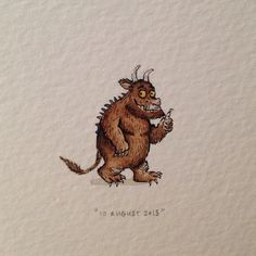 "Day 222 : ""Silly old Fox, doesn't he know? There's no such thing as a Gruffalo!"" - The Gruffalo, for Ben, on his 2nd birthday. 23 x 24 mm. #365paintingsforants #watercolour #miniature #gruffalo"