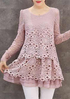 Lace Hollow Out Voile Blouse