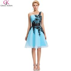 Grace Karin Short Cocktail Dress White Blue Pink Black Lace Knee Length One Shoulder Formal Gowns Pretty Cocktail Party Dresses