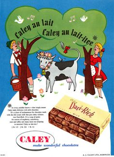 A charmingly illustrated ad for Caley Chocolates, October 1956. #vintage #food #ads #1950s