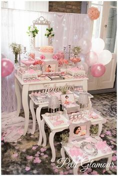 New baby shower girl table decorations candy buffet ideas Candy Table, Candy Buffet, Dessert Table, Paris Themed Birthday Party, Birthday Parties, Vintage Sweets, Baby Shower Princess, Wedding Decorations, Table Decorations
