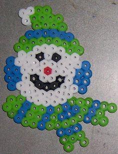 Perler beads snowman.  Fun with the girls