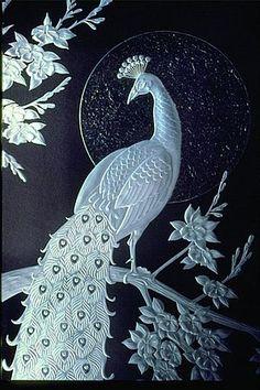 """Serenity"" -  Peacock in glass ClassicalGlassStudios.com. By De Carter- Ray"