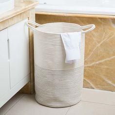 Rope Laundry Bag   Dunelm White Laundry Basket, Laundry Baskets, Laundry Bin, Dorm Room Designs, Farmhouse Laundry Room, Room Ideas Bedroom, Dream Bedroom, Master Bedroom, Room Decor
