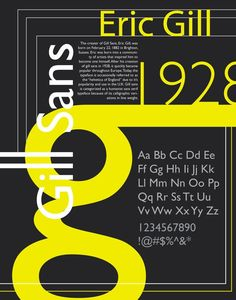 Gill Sans Sans-serif Humanist 1930 Eric Gill Poster by Tori Estes Typo Poster, Poster Fonts, Typographic Poster, Typo Design, Graphic Design Typography, Graphic Design Illustration, Graphic Posters, Japanese Typography, 3d Typography