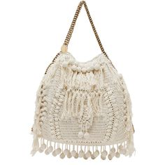 Stella McCartney Crochet Big Tote in White ($1,497) ❤ liked on Polyvore featuring bags, handbags, tote bags, purses, bolsas, accessories, white, crochet purse, pocket tote and fringe tote bag