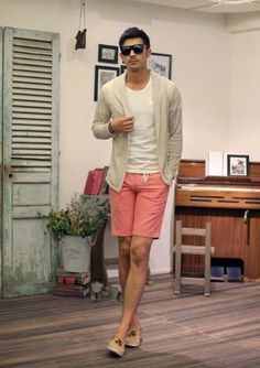 create your summer look with berms, plain tight fit tshirt and cardigan.. see hesinstyle.com for more choices