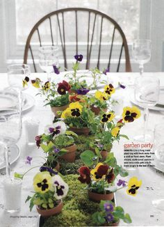 Centerpiece with little pansies & moss