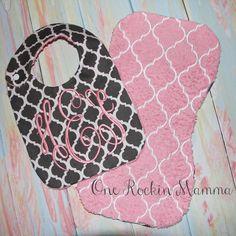 8x14 Bib Burp Cloth quatrefoil In The Hoop by OneRockinMamma, $3.50