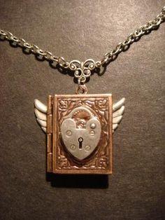 Steampunk Flying Book Locket with Heart Lock in by CreepyCreationz